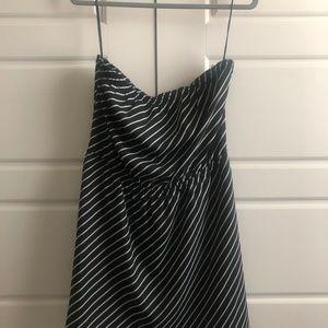 Express Strapless black & white striped dress EUC